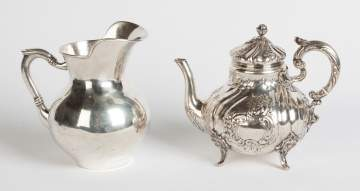 Silver Pitcher and Repousse Teapot