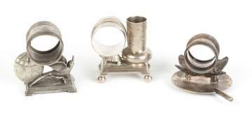 3 Vintage Silver Plate Figural Napkin Rings