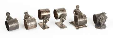 6 Vintage Silver Plate Figural Napkin Rings