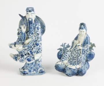Two Chinese Blue and White Porcelain Figures