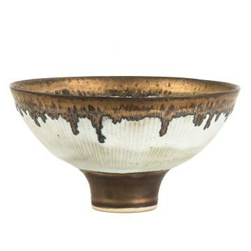 Lucie Rie (English, 1902-1995) Hand Thrown and Decorated Bowl with Manganese Edge and Foot