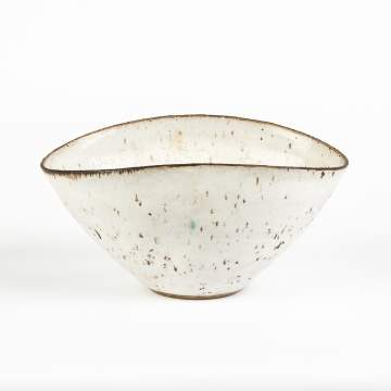 Lucie Rie (English, 1902-1995) Oval White Bowl with Dark Rim and Translucent Spots
