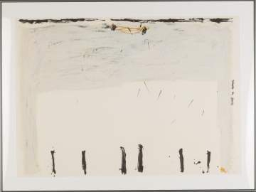 "Antoni Tàpies (Spanish, 1923-2012) ""Vertical Down Below"""
