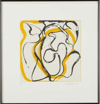 Brice Marden (American, b. 1938) Yellow And Black Linear Design On White Background