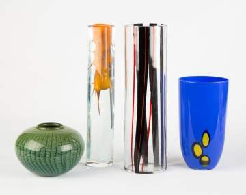 Four Contemporary Glass Vases
