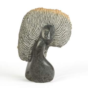 Lazarus Takawira (Zimbabwe) Muroora (Daughter-In-Law), Stone Sculpture of a Woman's Head with Incised Headdress