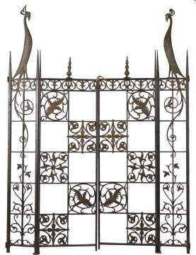 Art Deco Wrought Iron and Brass Gate