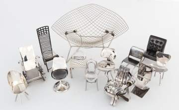 Collection of Modern Design Sterling Silver Miniature Chairs