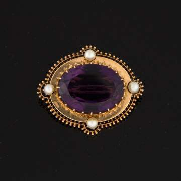 Amethyst and 14K Gold Pin with Natural Pearls