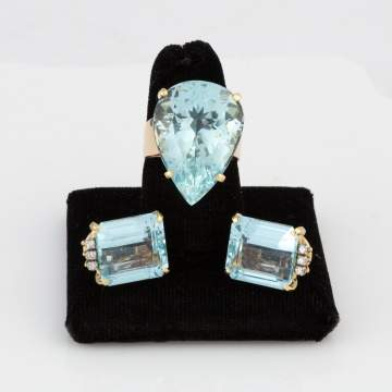 Aquamarine Ring and Earrings