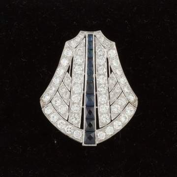 Platinum Art Deco Design Bell Shaped Brooch