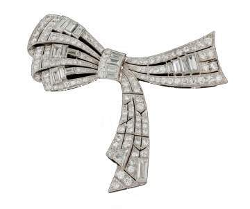 Platinum, Art Deco Bow Design Brooch