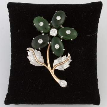 Nephrite Jade and Gold Flower Brooch
