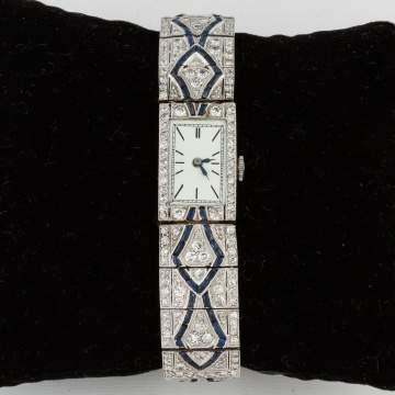 Ladies Platinum, Diamond and Sapphire Art Deco Design Wrist Watch