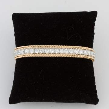Vintage Platinum and Diamond Straight Line  Bracelet