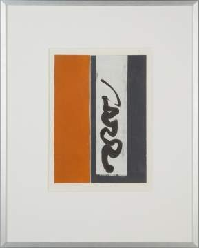 Herman Alfred Sigg, Orange, Black and White Strands with Black Drawing in Center