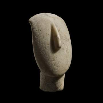 A Large Cycladic Marble Head