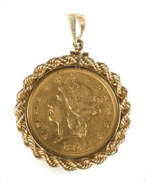1897 Twenty Dollar Liberty Head Gold Coin Mounted in a Pendant
