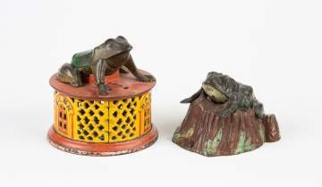 Two Cast Iron Semi-Mechanical Frog Banks