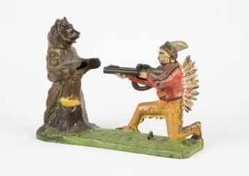 Indian and Bear Cast Iron Mechanical Bank