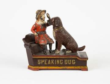 Speaking Dog Cast Iron Mechanical Bank