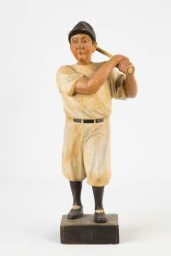 Carved and Painted German Mechanical Whistler of a Baseball Player