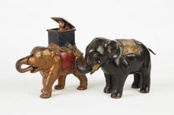 Two Cast Iron Semi-Mechanical Elephant Banks