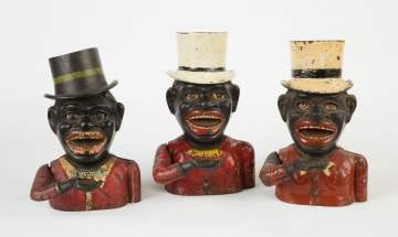 Three Black Boy Cast Iron Mechanical Banks with Top Hats