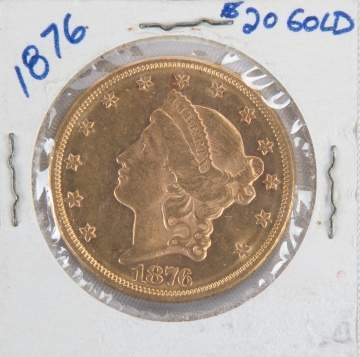 1876 Liberty Head $20 Gold Coin