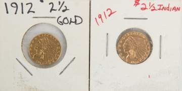 Two 1912 Indian Head $2.50 Gold Coins