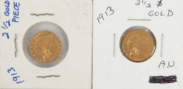 Two 1913 Indian Head $2.50 Gold Coins