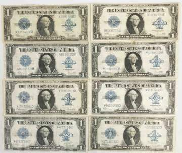 Eight 1923 $1 Silver Certificates