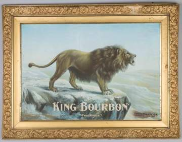 "King Bourbon ""Two Kings"" Tin Lithograph Advertising Sign"
