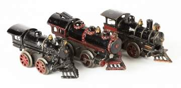 Three Cast Iron Clockwork Trains