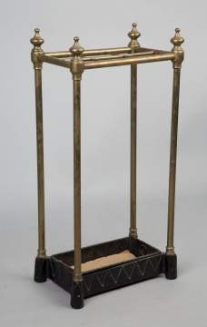 Vintage Cast Iron and Brass Cane Holder