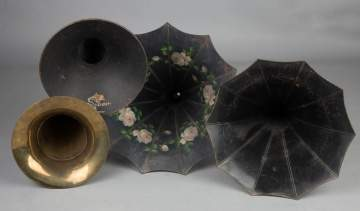 Two Morning Glory Phonograph Horns, A Brass Horn and A Magnivox Cygnet Style Horn
