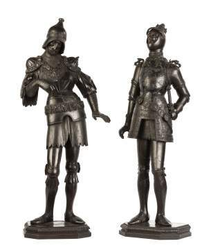 Pair of Carved Court Figures in Armor