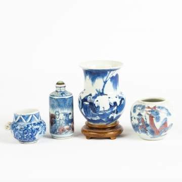 Chinese Blue and White Porcelain Vases and Snuff  Bottle