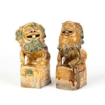 Pair of Chinese Glazed Guard Lions