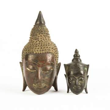 Two Tibetan Bronze Buddha Heads