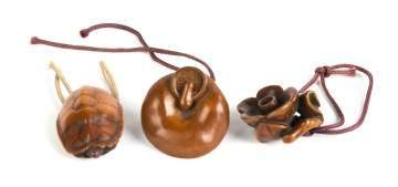 Three Japanese Carved Sandalwood Netsukes