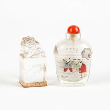 Chinese Rock Crystal Seal & Inside Painted Snuff Bottle