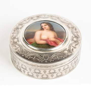 French Silver Box with Porcelain Center