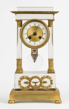 Crystal and Gilt Bronze Portico Clock