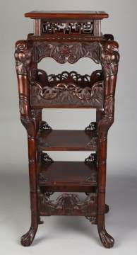 Chinese Carved Tiered Stand