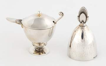 Georg Jensen Sterling Silver Cactus Mustard Pot and Bell