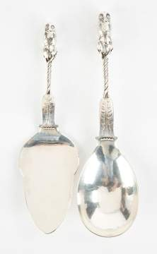 Georg Jensen Two Unusual Sterling Silver Serving  Pieces