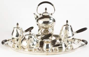 Georg Jensen Six Piece Sterling Silver Tea Set with Tray