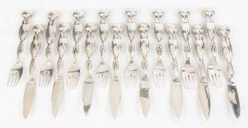 Georg Jensen Sterling Silver Fish Pattern Forks  and Knives