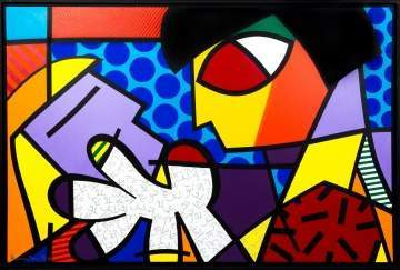 "Romero Britto (Brazilian, born 1963) ""Two Girls"""